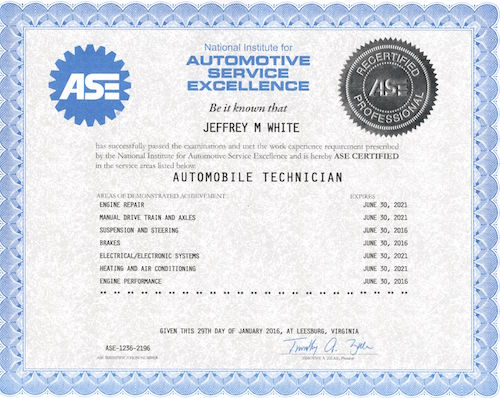 Our Automotive Technician\'s Certifications
